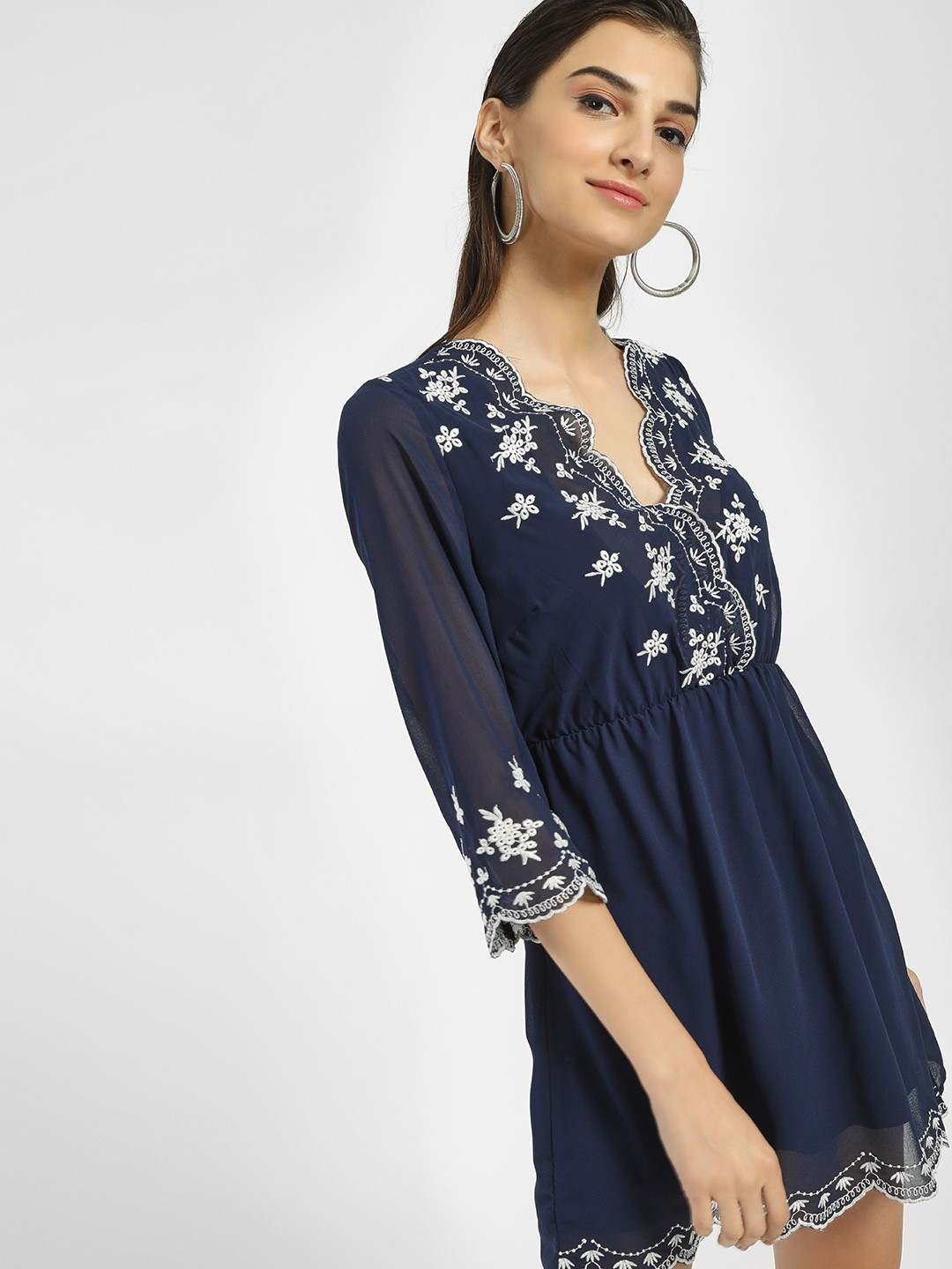 Iris Navy and white Scalloped Embroidered Hem Shift Dress 1