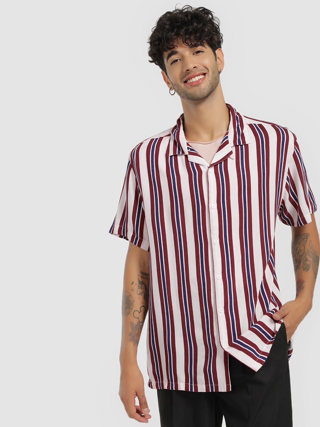 Brave Soul White Cuban Collar Vertical Stripe Shirt 1