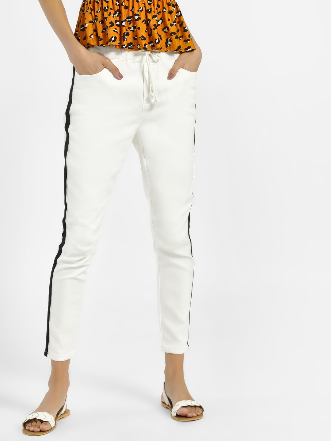 Iris White Side Tape Slim Trousers 1