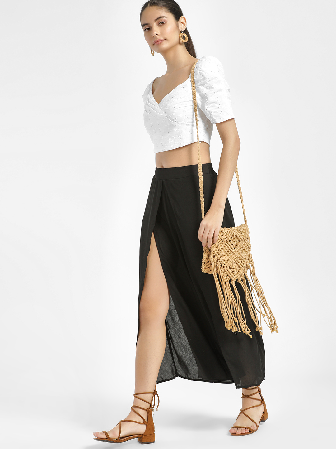 Iris Black Front Split Cropped Palazzo Pants 1