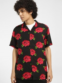 Brave Soul Rose Print Cuban Collar Shirt