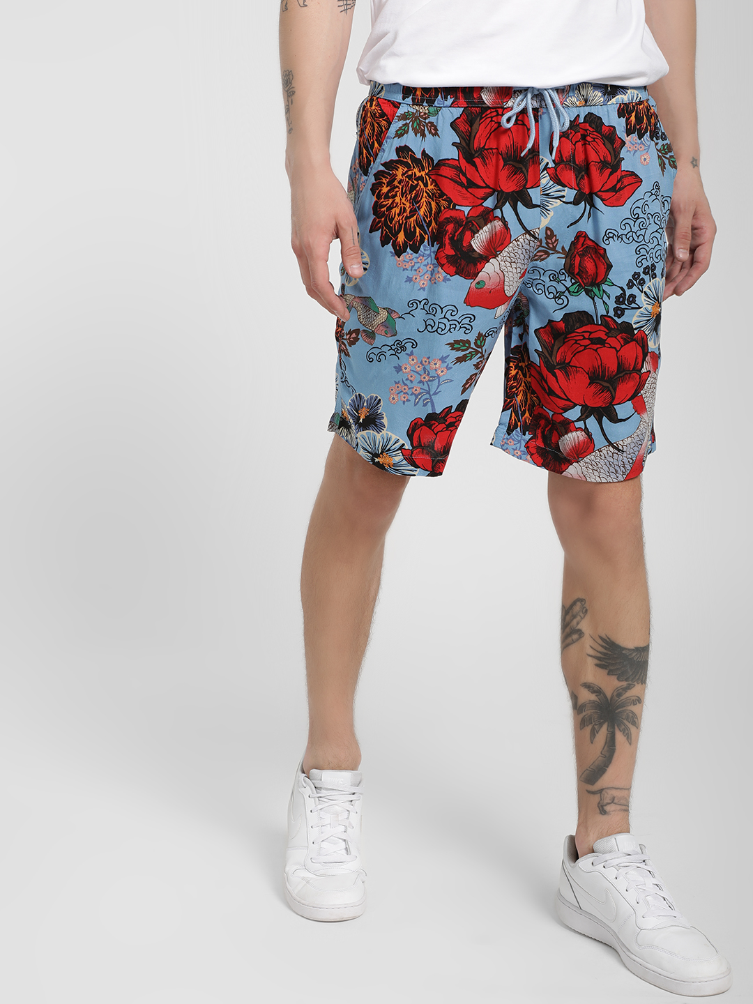 Brave Soul Blue All Over Floral Print Shorts 1