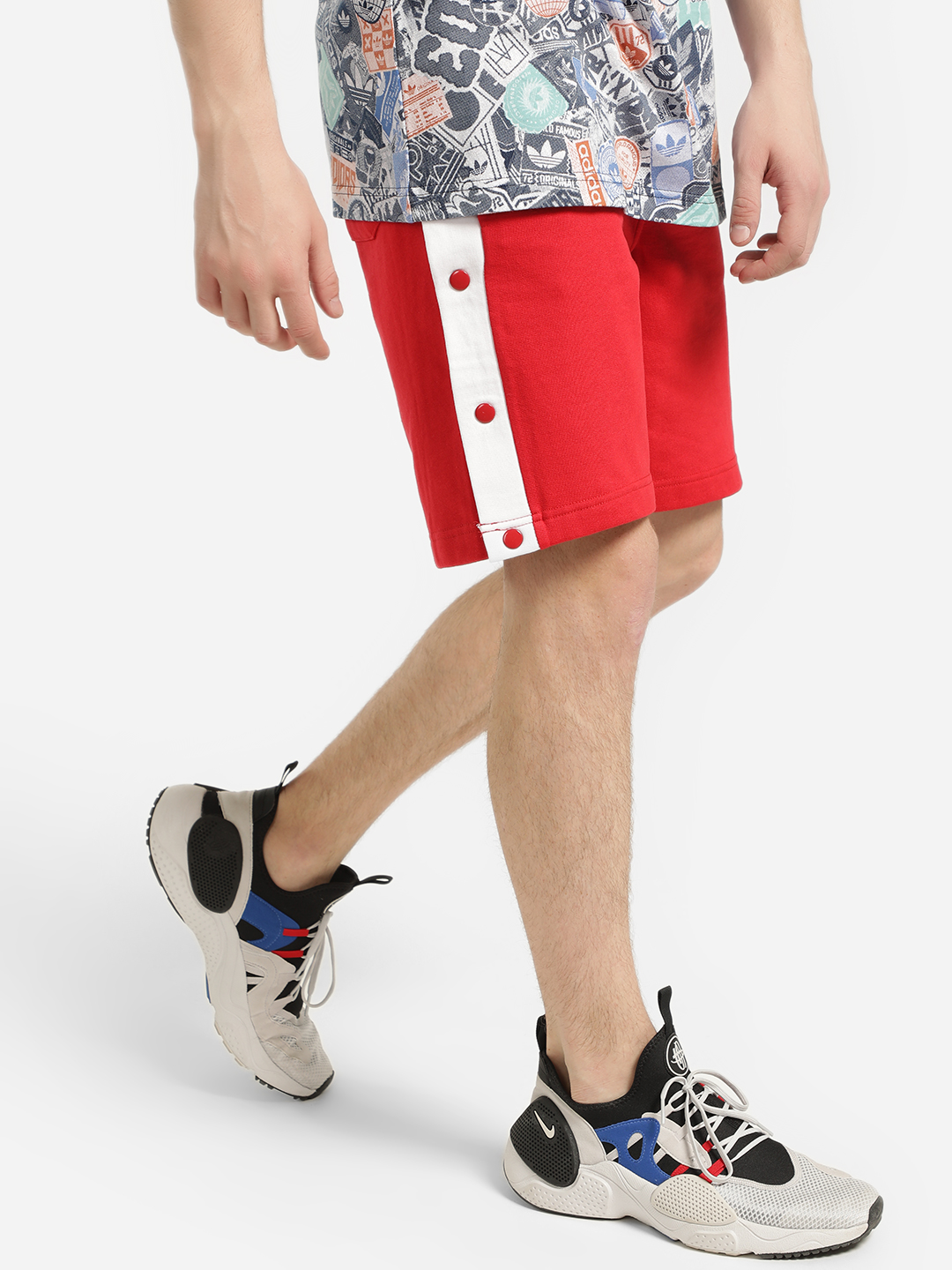 Brave Soul Red Side Tape Popper Shorts 1