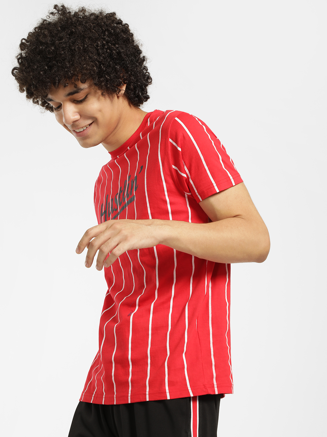 Brave Soul Red Hustlin Print Vertical Stripe T-Shirt 1