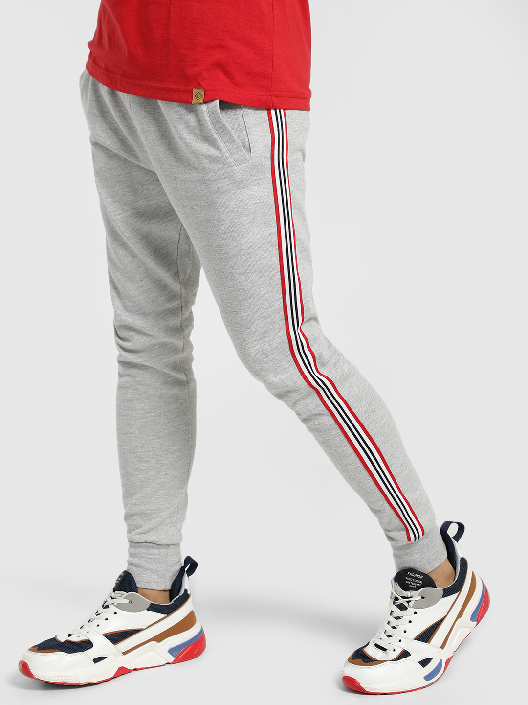 Brave Soul Grey Contrast Side Tape Woven Joggers 1