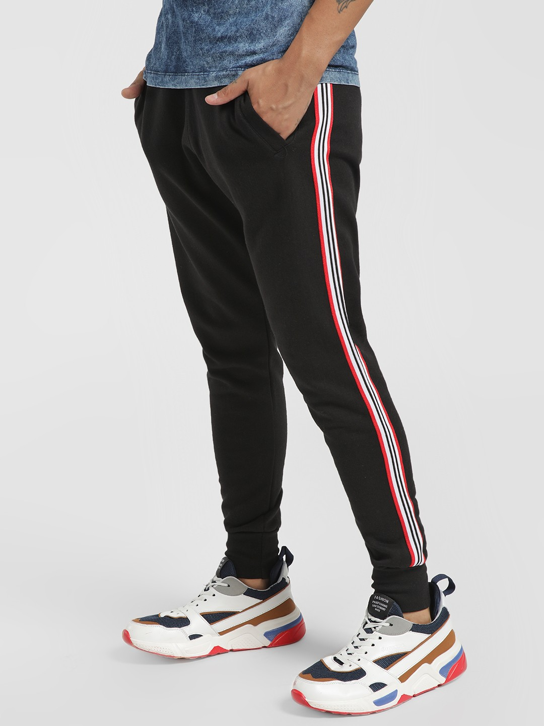 Brave Soul Black Contrast Side Tape Woven Joggers 1
