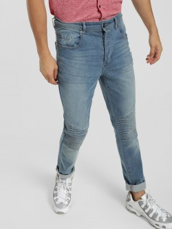 Brave Soul Light Wash Biker Panel Skinny Jeans