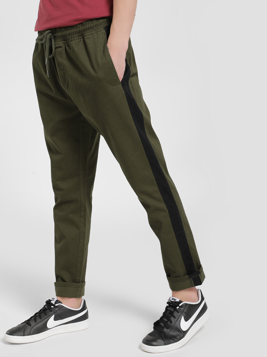 Brave Soul Olive Contrast Side Tape Drawcord Trousers 1