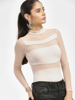 Iris Mesh Panel High Neck Bodysuit