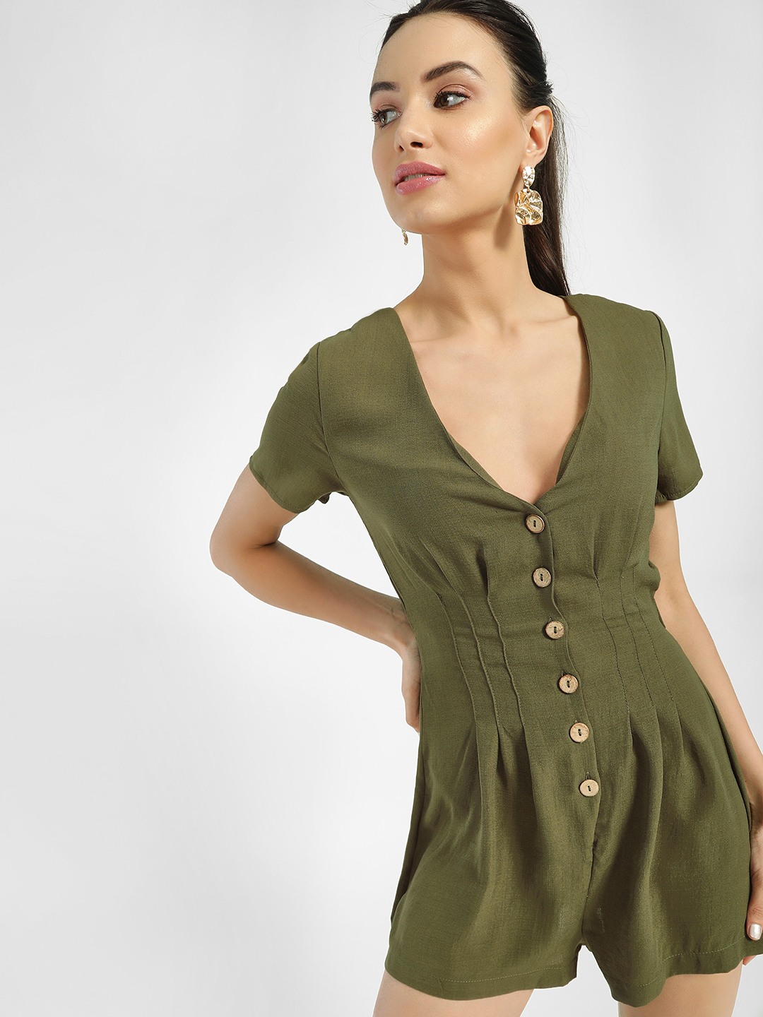 Iris Olive Button Down Pleated Playsuit 1