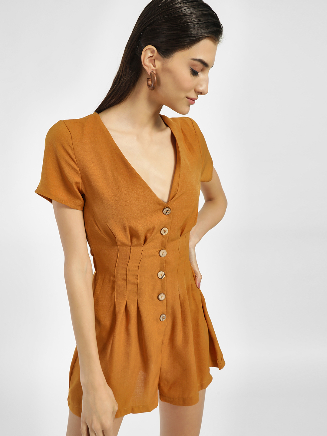 Iris Camel Button Down Pleated Playsuit 1