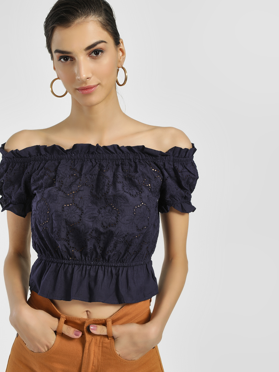 Iris Navy Broderie Peplum Off-Shoulder Top 1