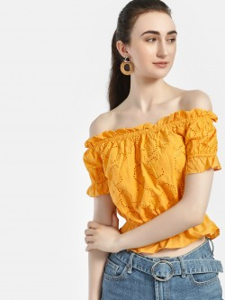 Iris Broderie Peplum Off-Shoulder Top