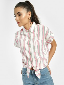 Iris Vertical Stripe Tie-Knot Crop Shirt
