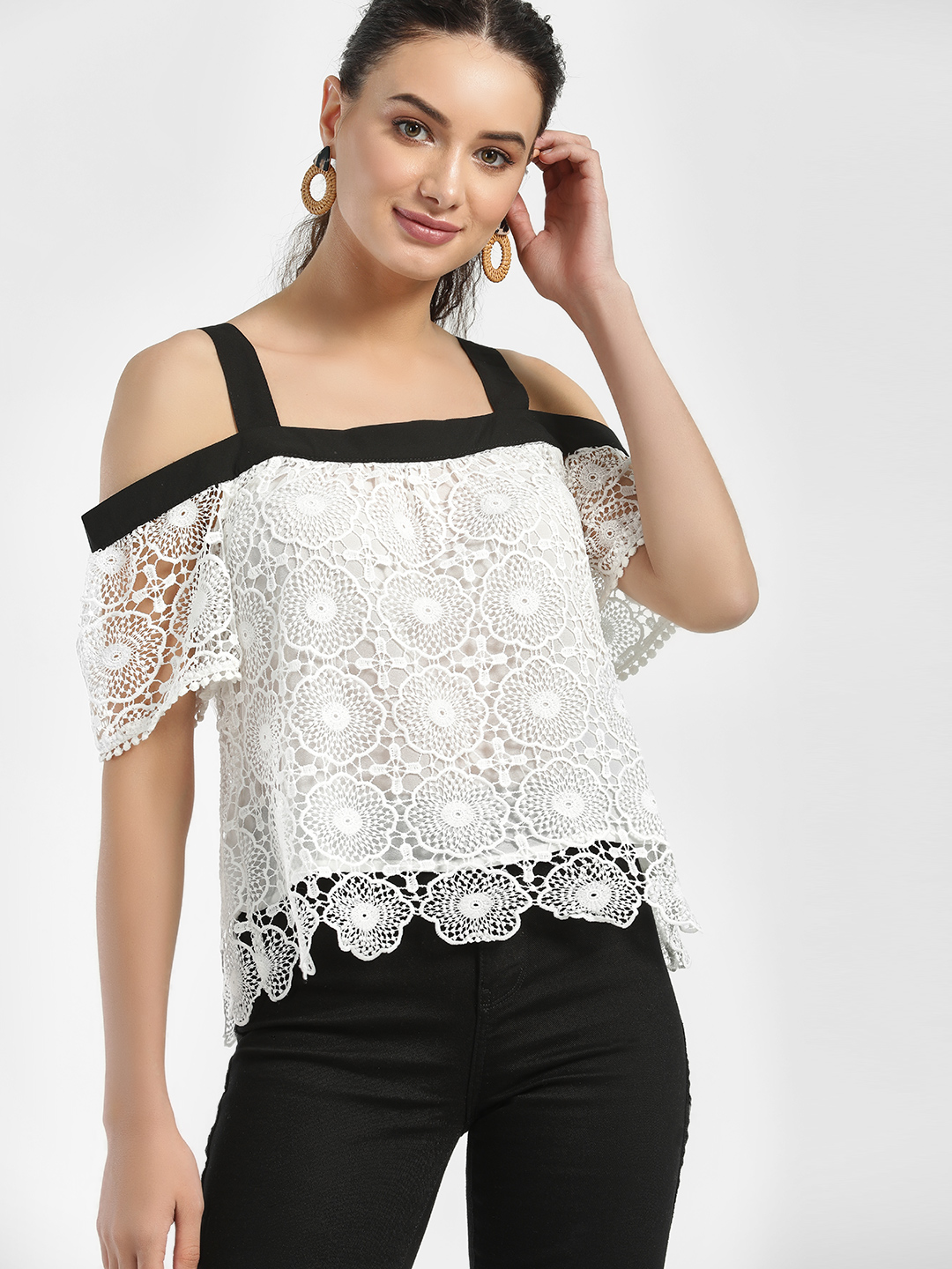 Iris White Cold Shoulder Lace Detail Top 1