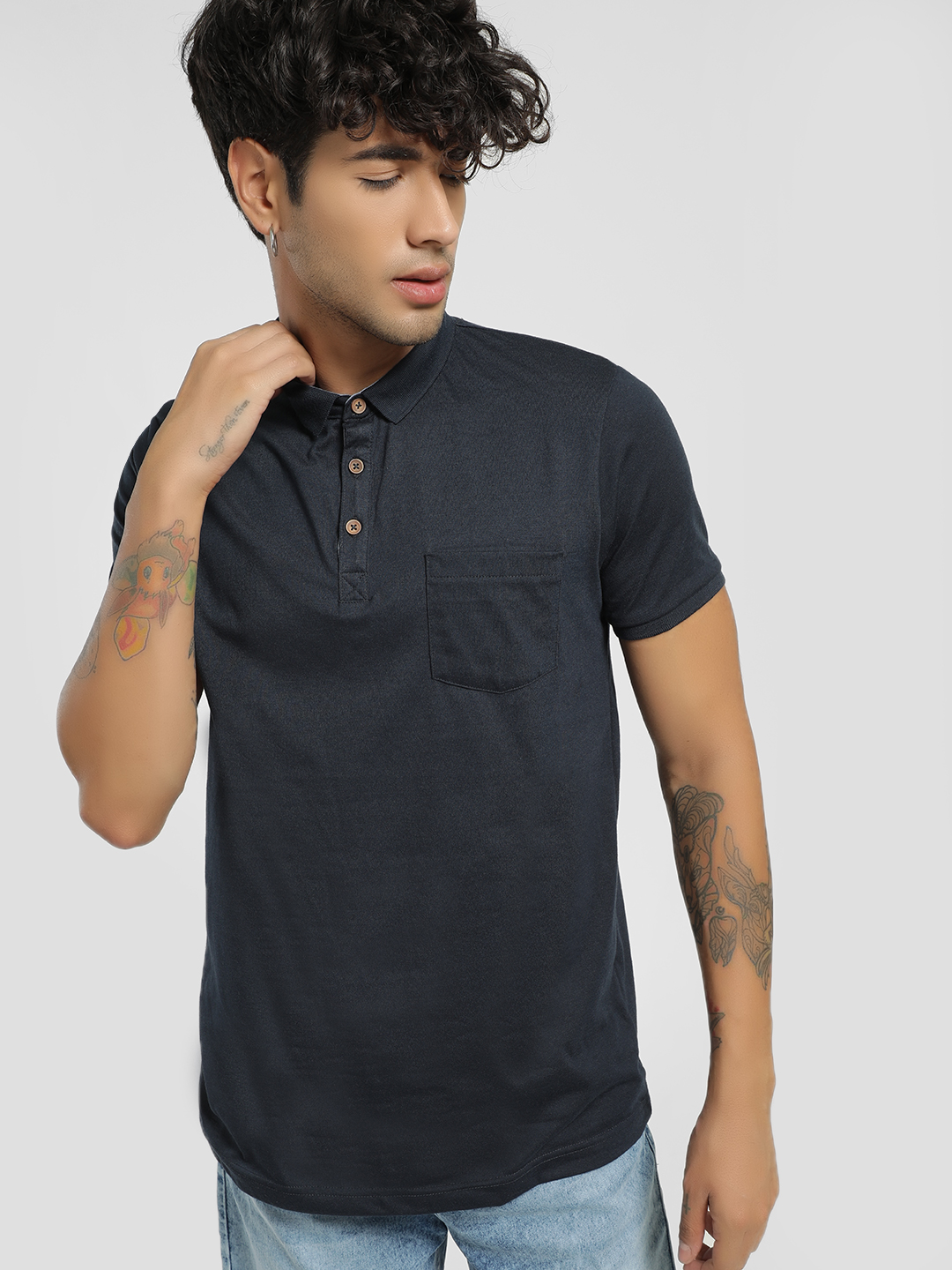 Brave Soul Navy Blue Basic Muscle Fit Polo Shirt 1