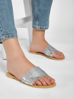 KOOVS Metallic Check Strap Flat Sandals