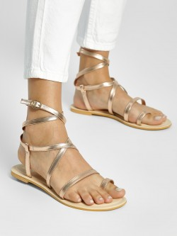 KOOVS Metallic Multi-Strap Flat Sandals