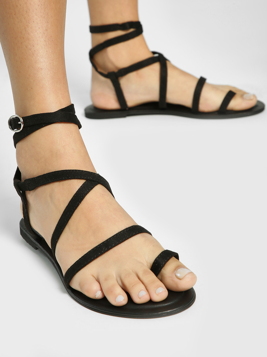 KOOVS Black Suede Strappy Flat Sandals 1