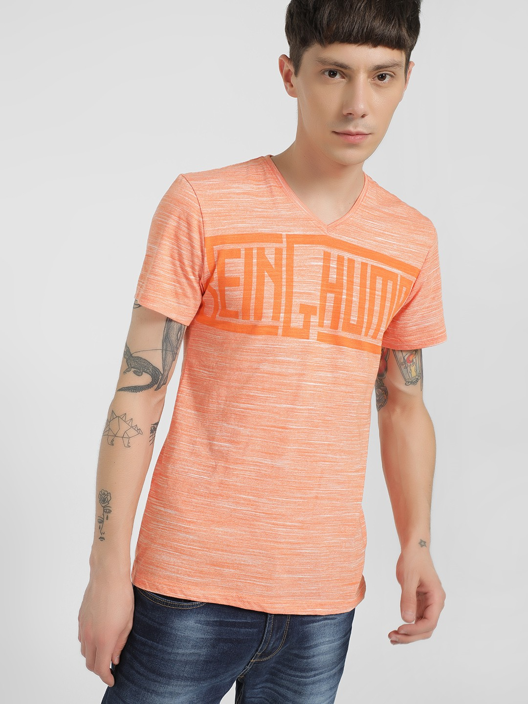 Being Human Peach Large Text Print Slub T-Shirt 1