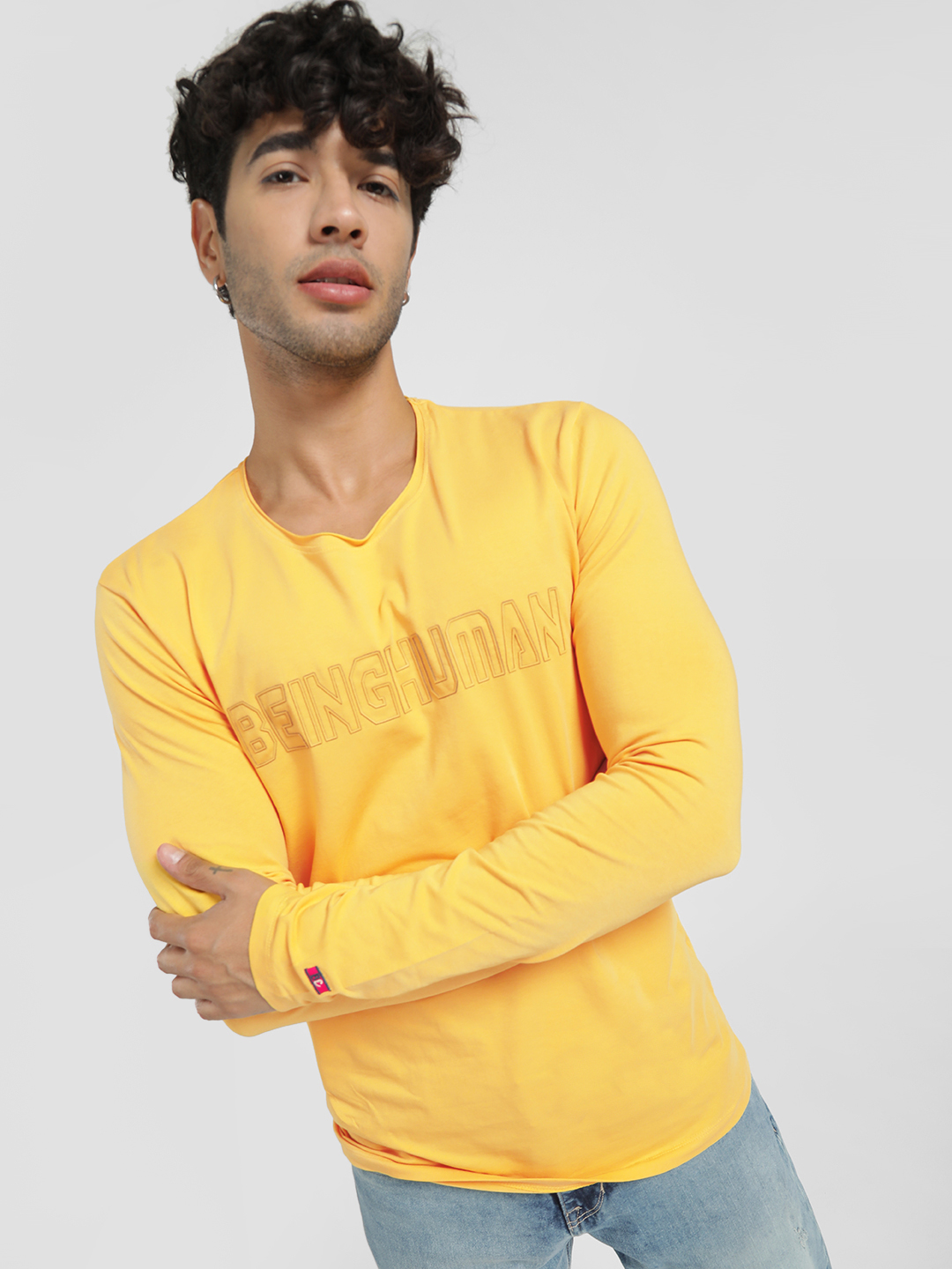 Being Human Yellow Rubberised Text Logo Long Sleeve T-Shirt 1
