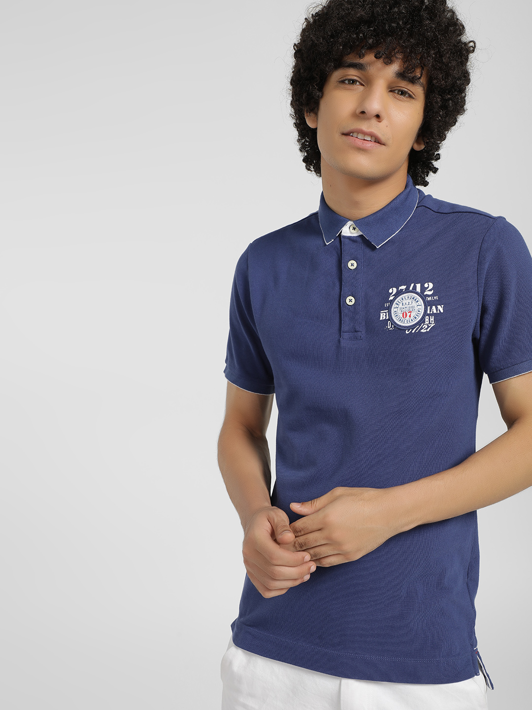 Being Human Blue Logo Badge Polo Shirt 1