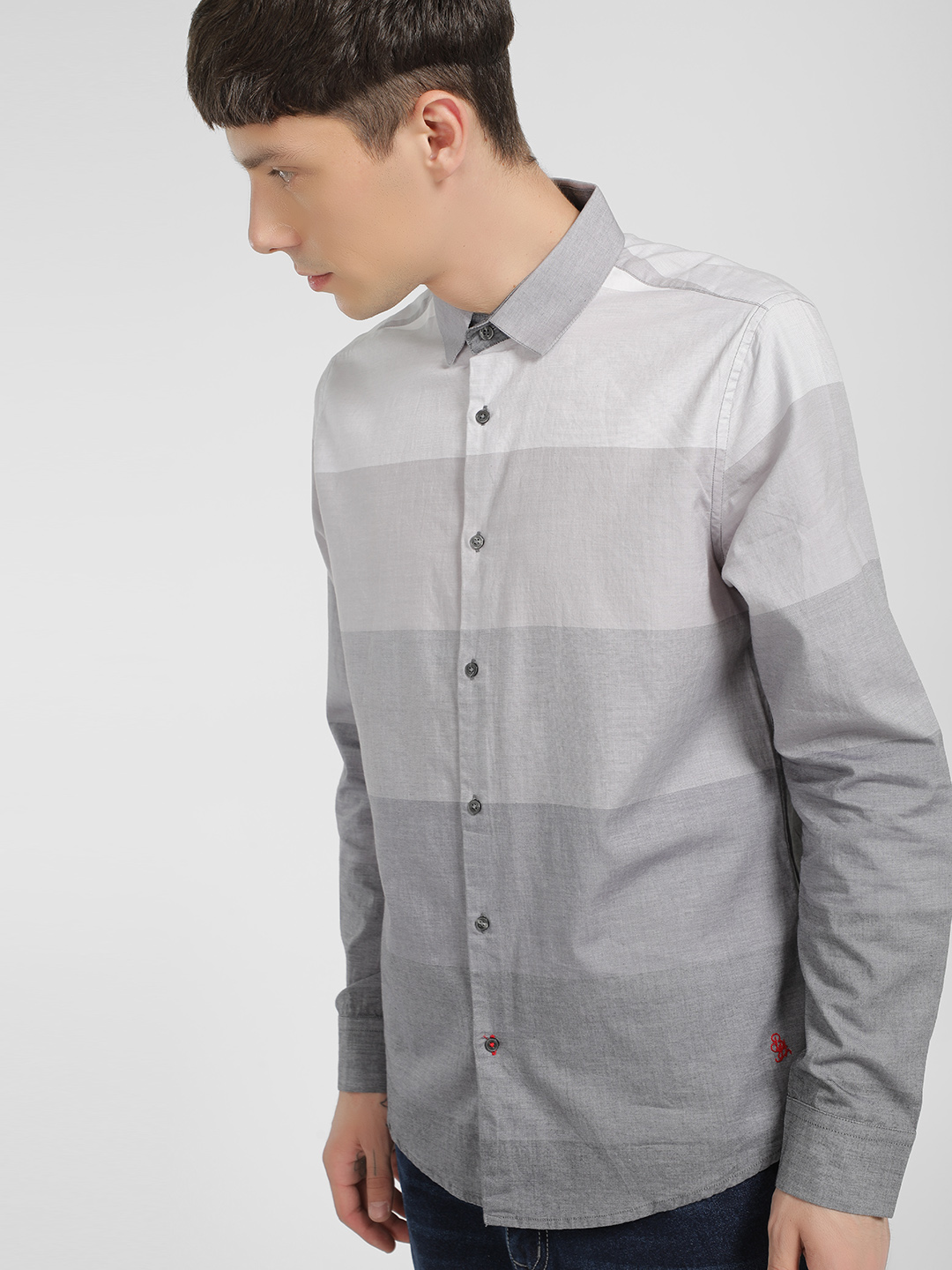 Being Human Grey Ombre Bold Horizontal Stripe Shirt 1