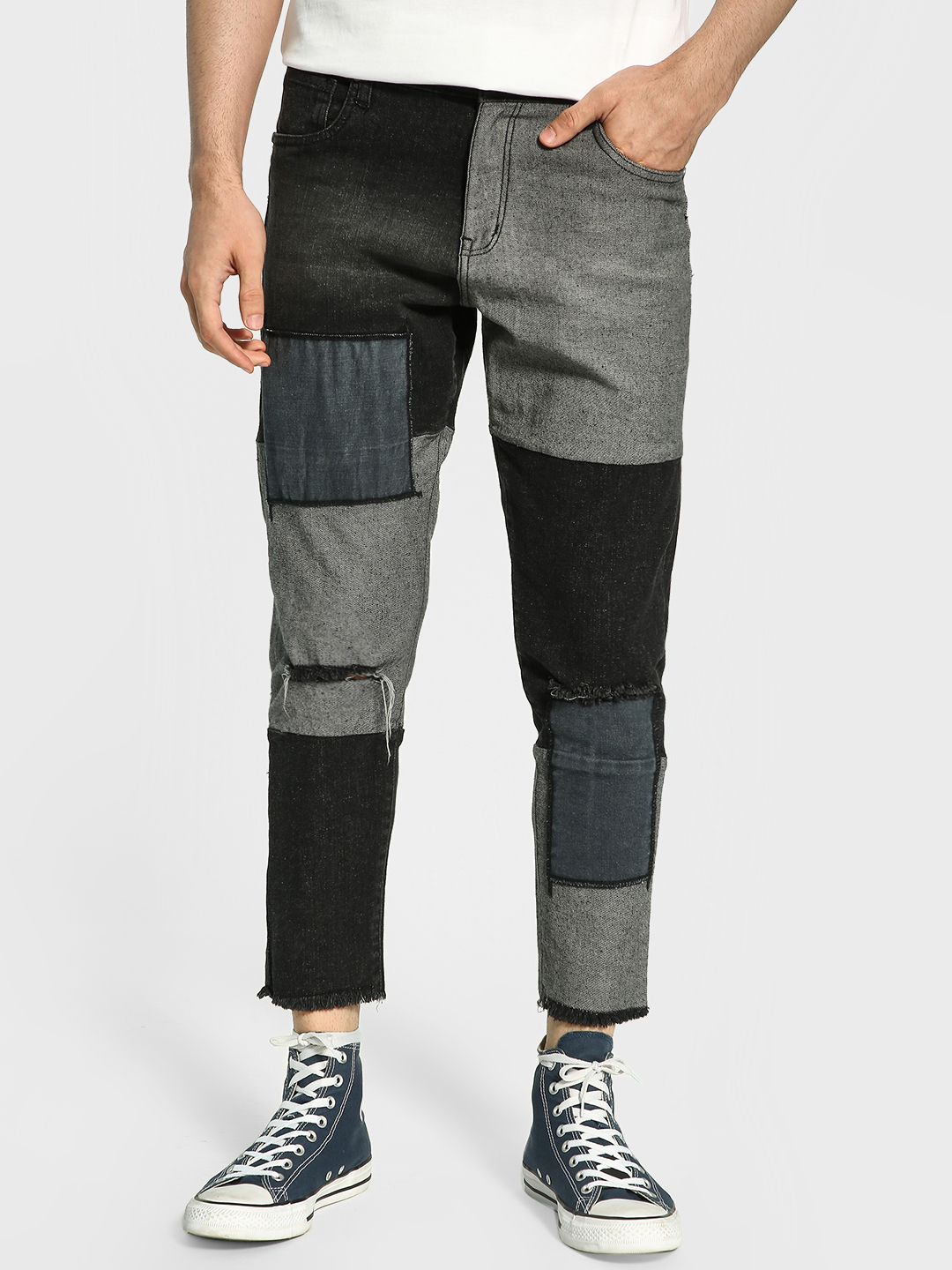 K Denim Black KOOVS Patchwork Panelled Ripped Slim Jeans 1