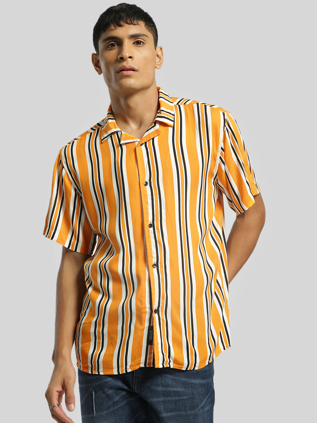 KOOVS Multi Vertical Stripe Cuban Collar Shirt 1