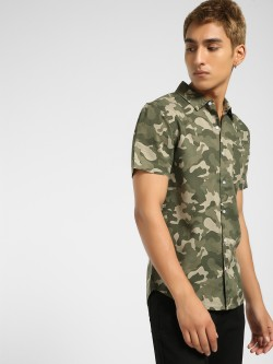KOOVS Camouflage Print Muscle Fit Shirt