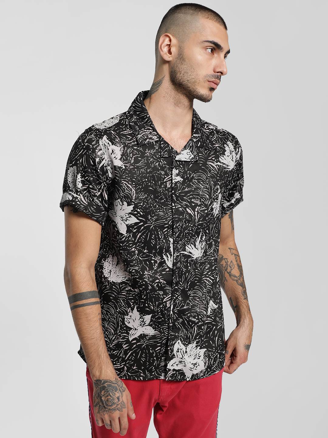 KOOVS Multi Cuban Collar Floral Print Shirt 1