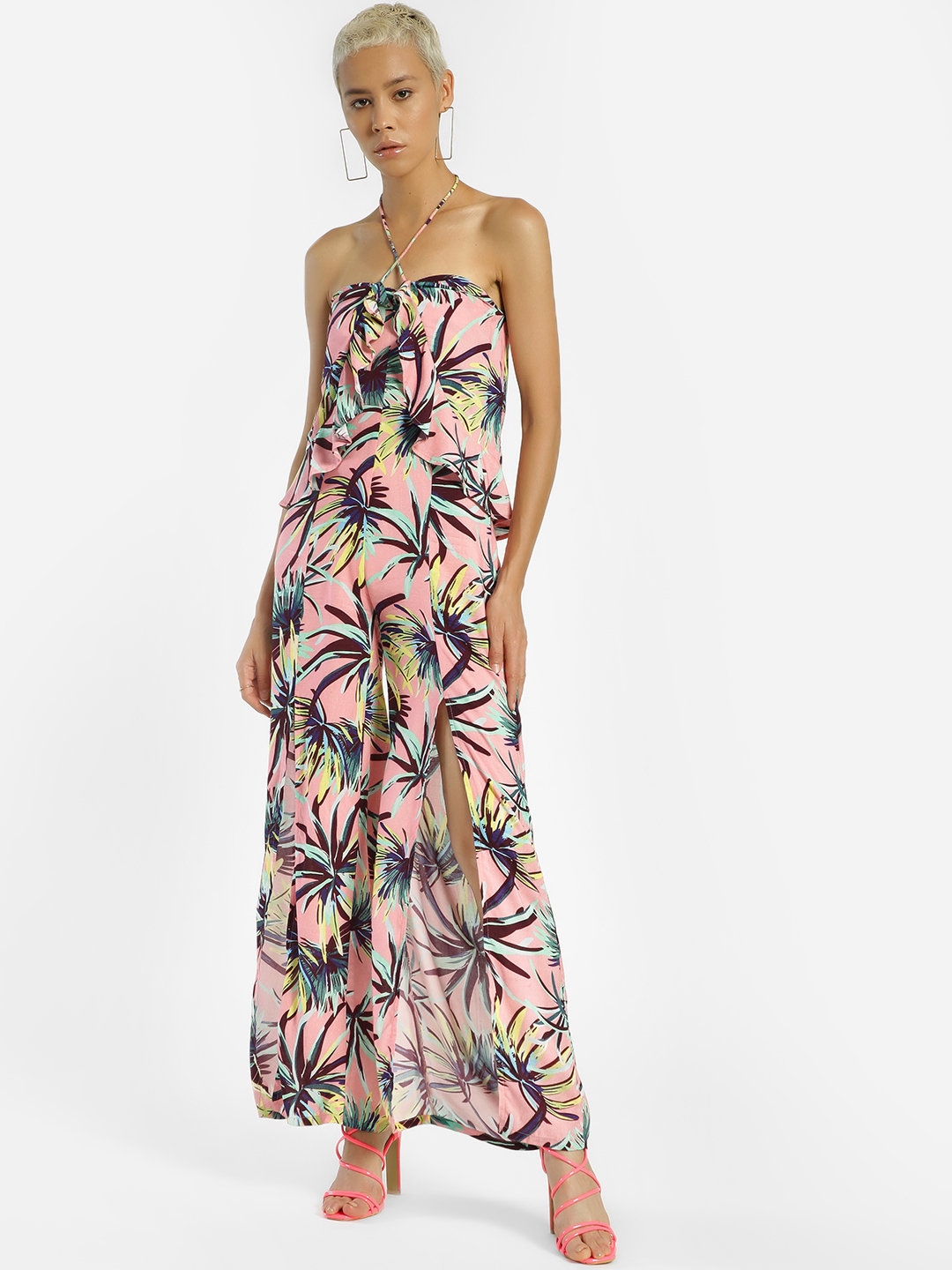 KOOVS Multi Palm Print Halter Neck Jumpsuit 1