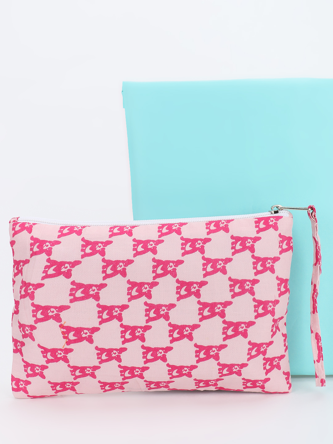 Blueberry Pink All Over Dog Print Pouch 1