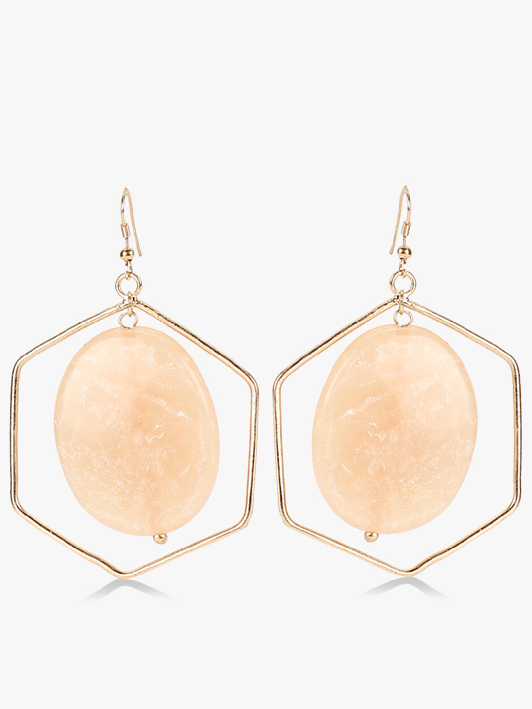 Blueberry Off White Octagon Shape Marble Drop Earrings 1