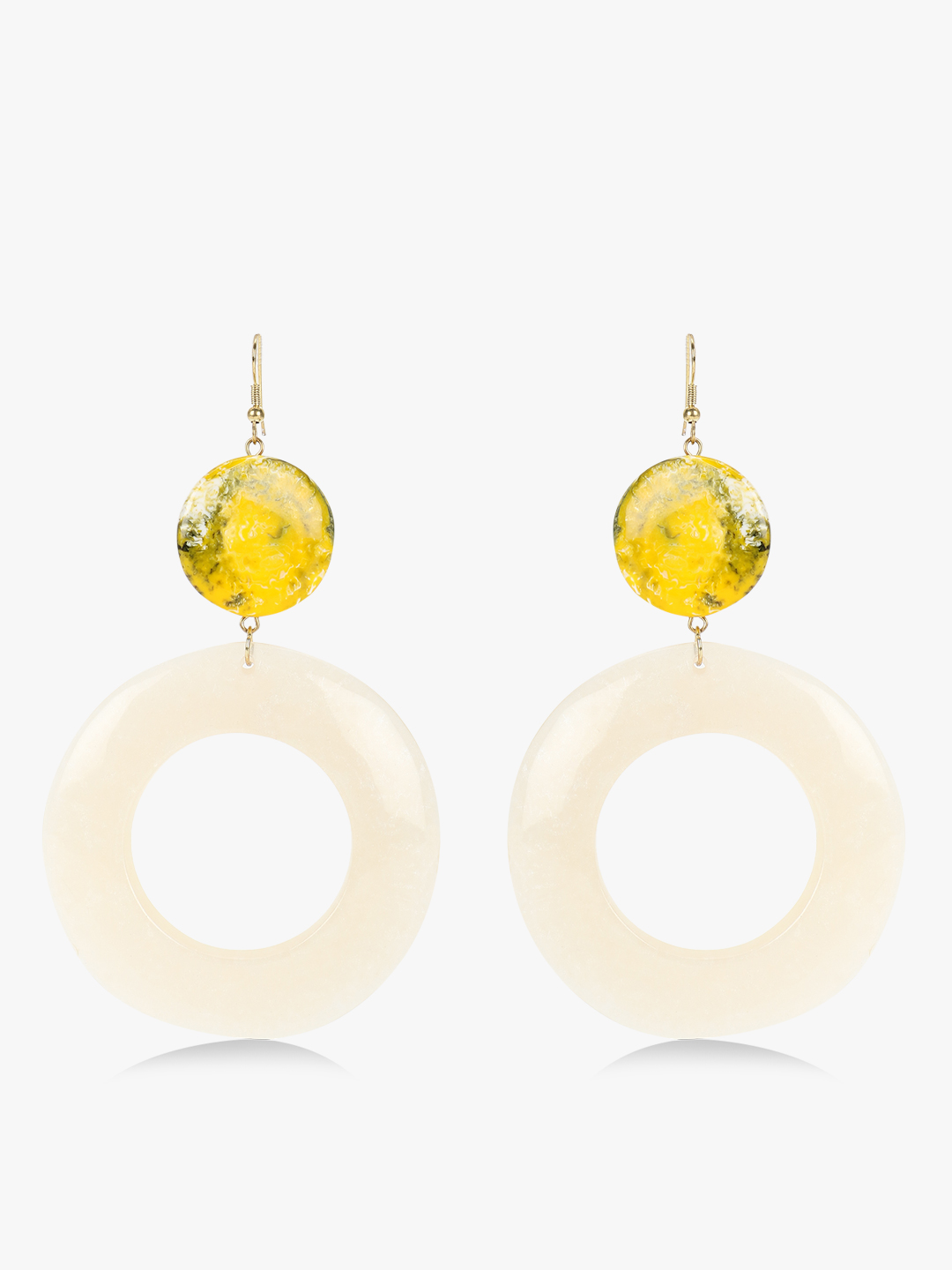 Blueberry Yellow Marble Print Concentric Drop Earrings 1