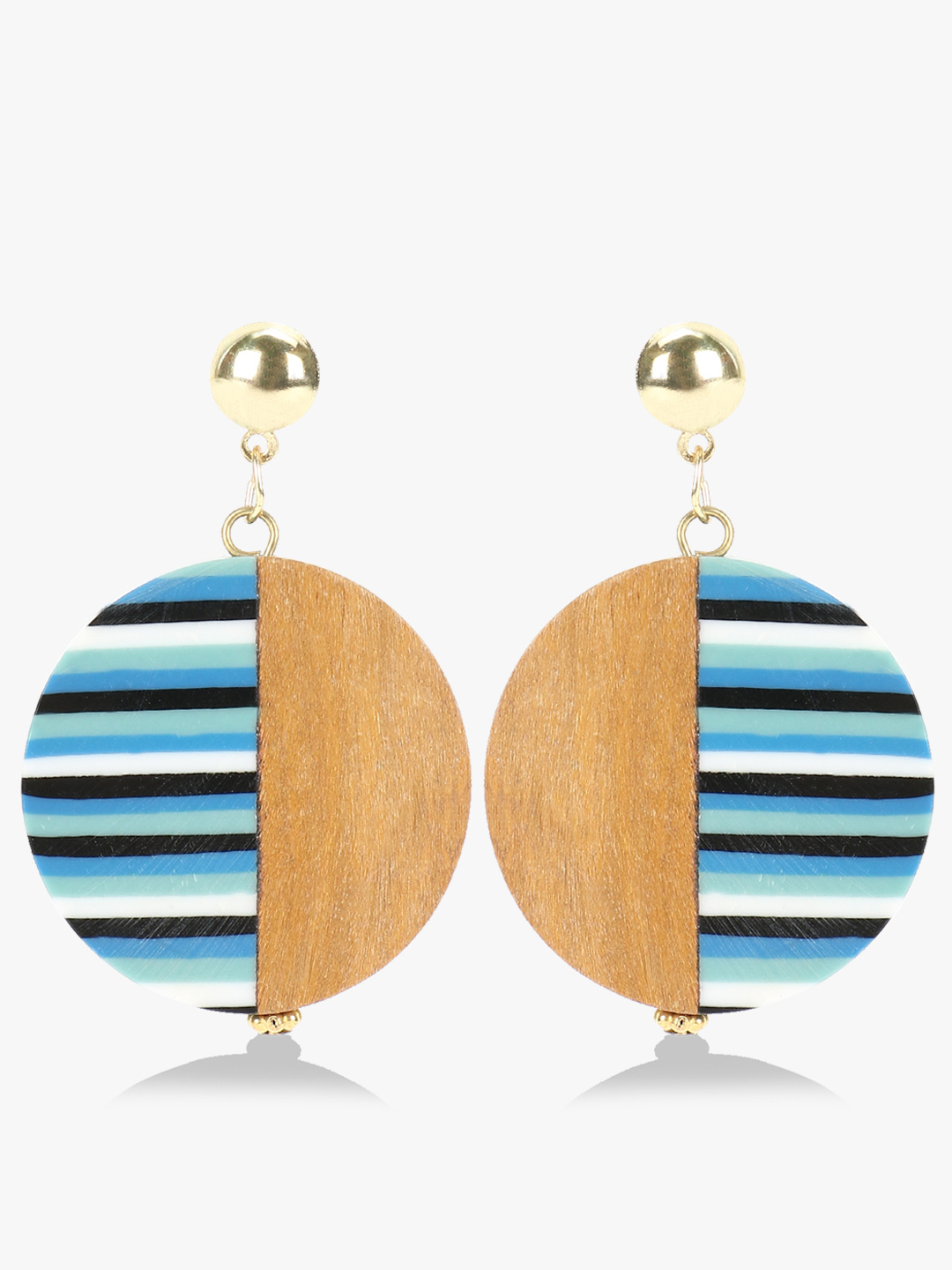 Blueberry Multi Stripe Wooden Antique Earrings 1