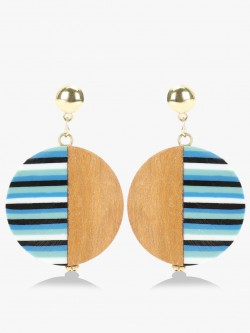 Blueberry Stripe Wooden Antique Earrings