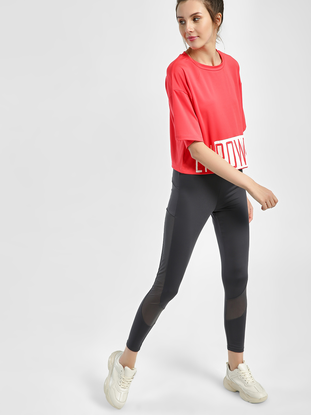K ACTIVE Charcoal KOOVS Mesh Panel Cropped Leggings 1