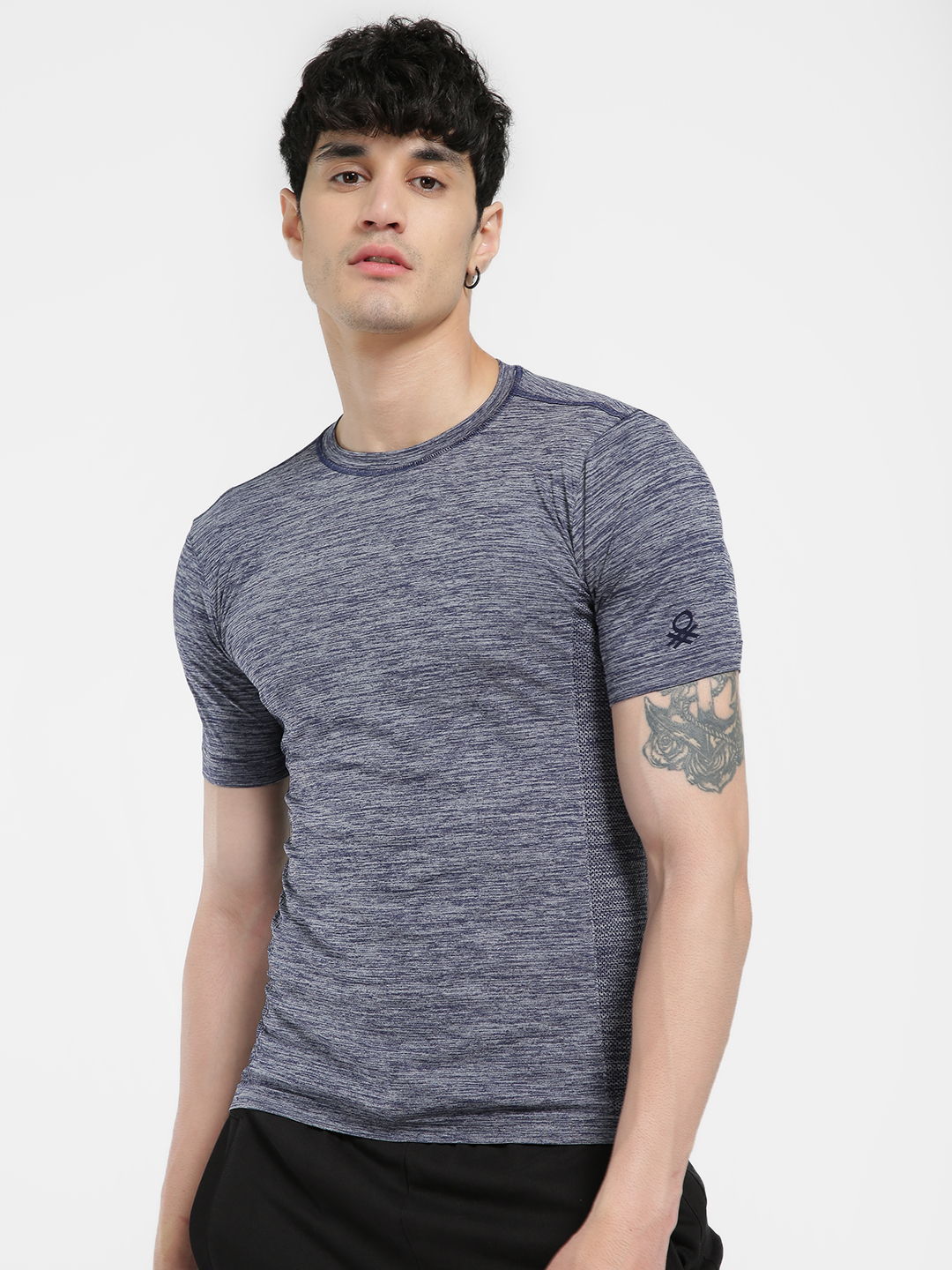 Under Colors of Benetton Navy Seamless Woven Muscle Fit T-Shirt 1