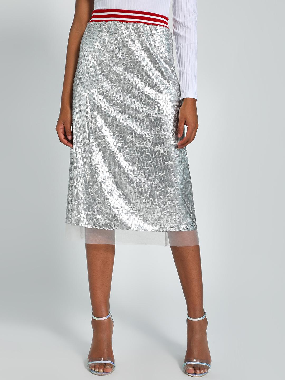Noble Faith Silver Sequinned Stripe Band Midi Skirt 1