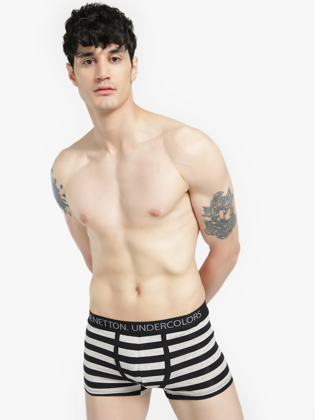 Under Colors of Benetton Grey/Black Logo Band Striped Trunks 1