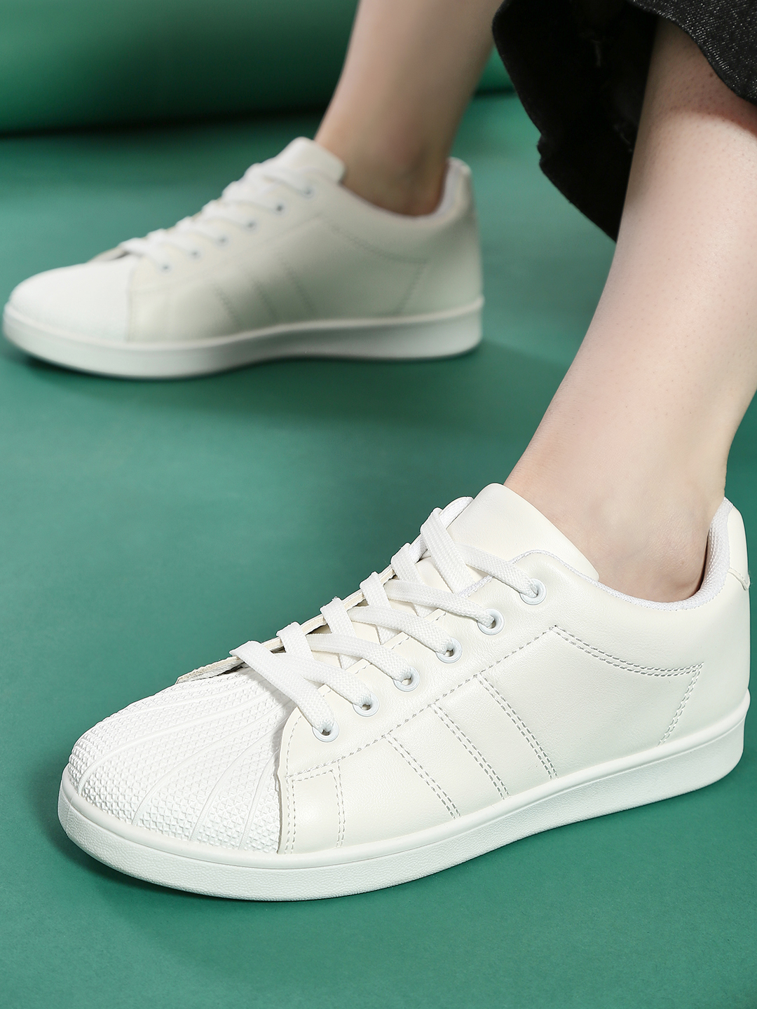 Truffle Collection White Textured Toe Superstar Sneakers 1