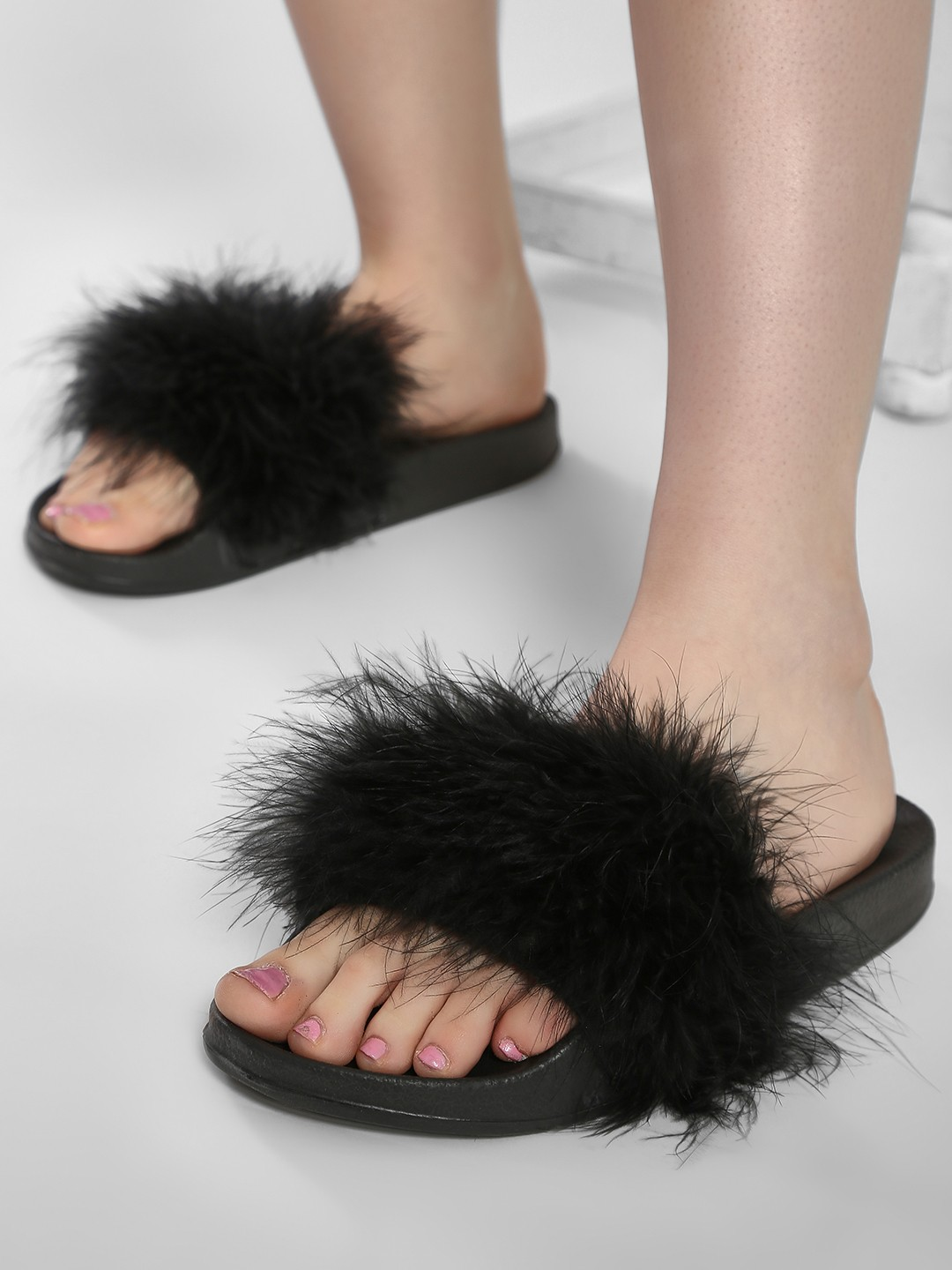 Truffle Collection Black Fur Slides 1