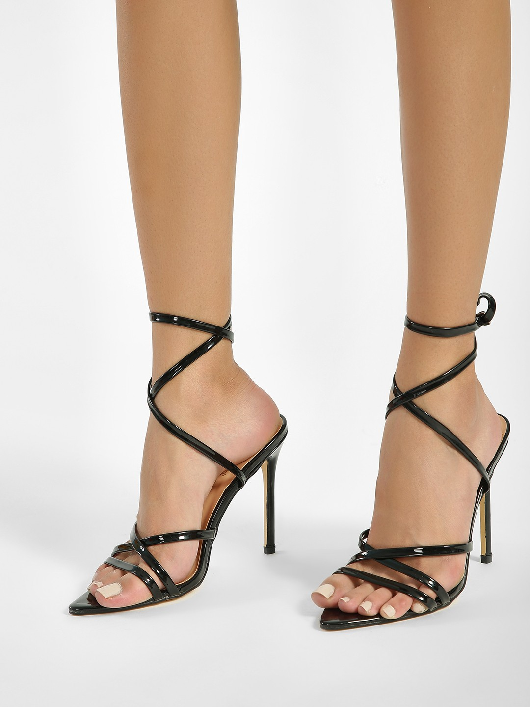 Truffle Collection Black Tubular Ankle Strap Heeled Sandals 1
