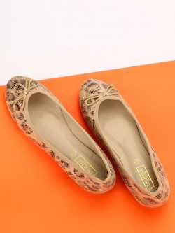 Truffle Collection Leopard Print Bow Detail Ballerinas