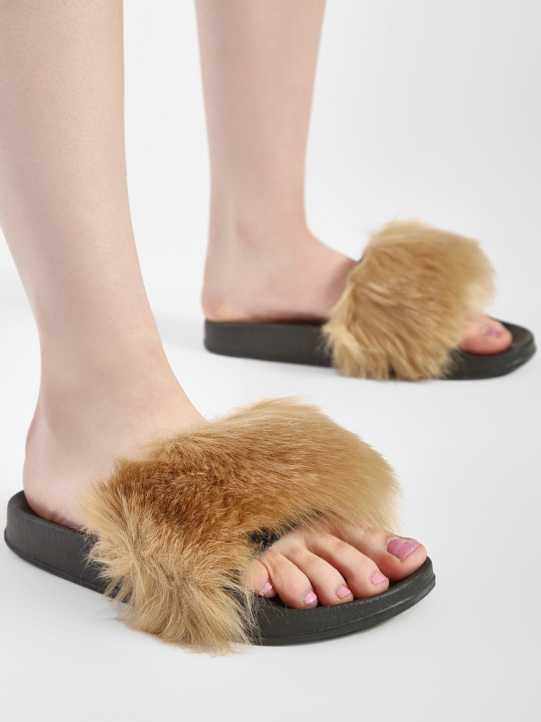 Truffle Collection Brown Fur Slides 1