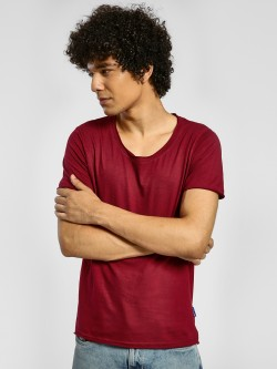 Blue Saint Raw Edge Scoop Neck T-Shirt