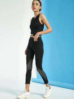 K ACTIVE KOOVS Tiger Print Panel Mesh Leggings