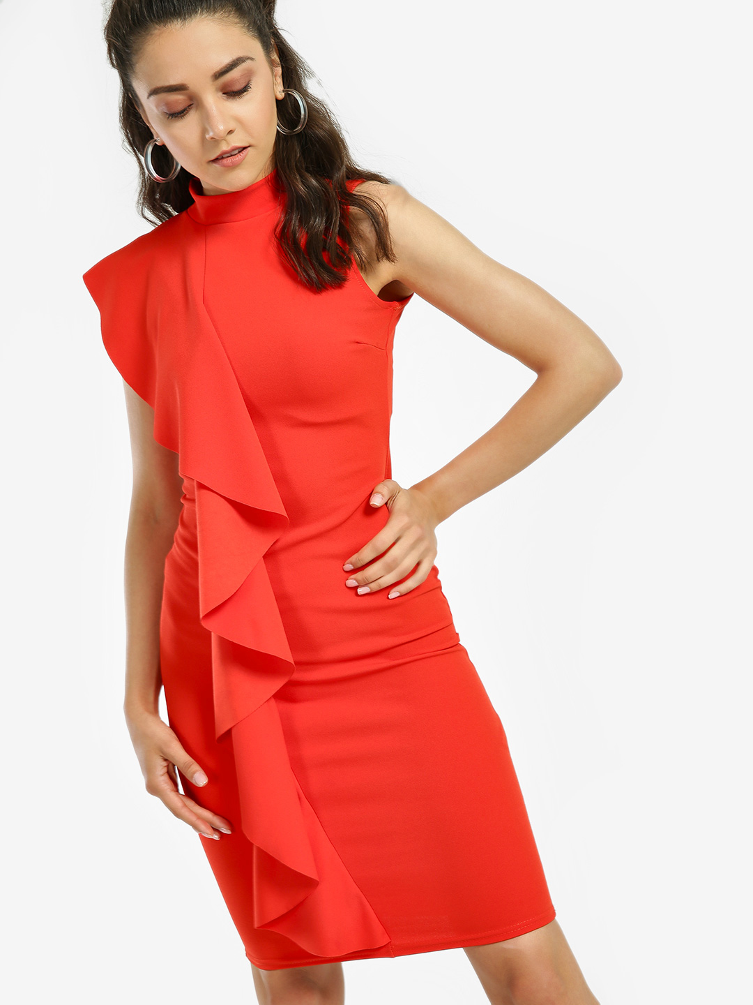 Quiz Orange Ruffle Detail Bodycon Dress 1