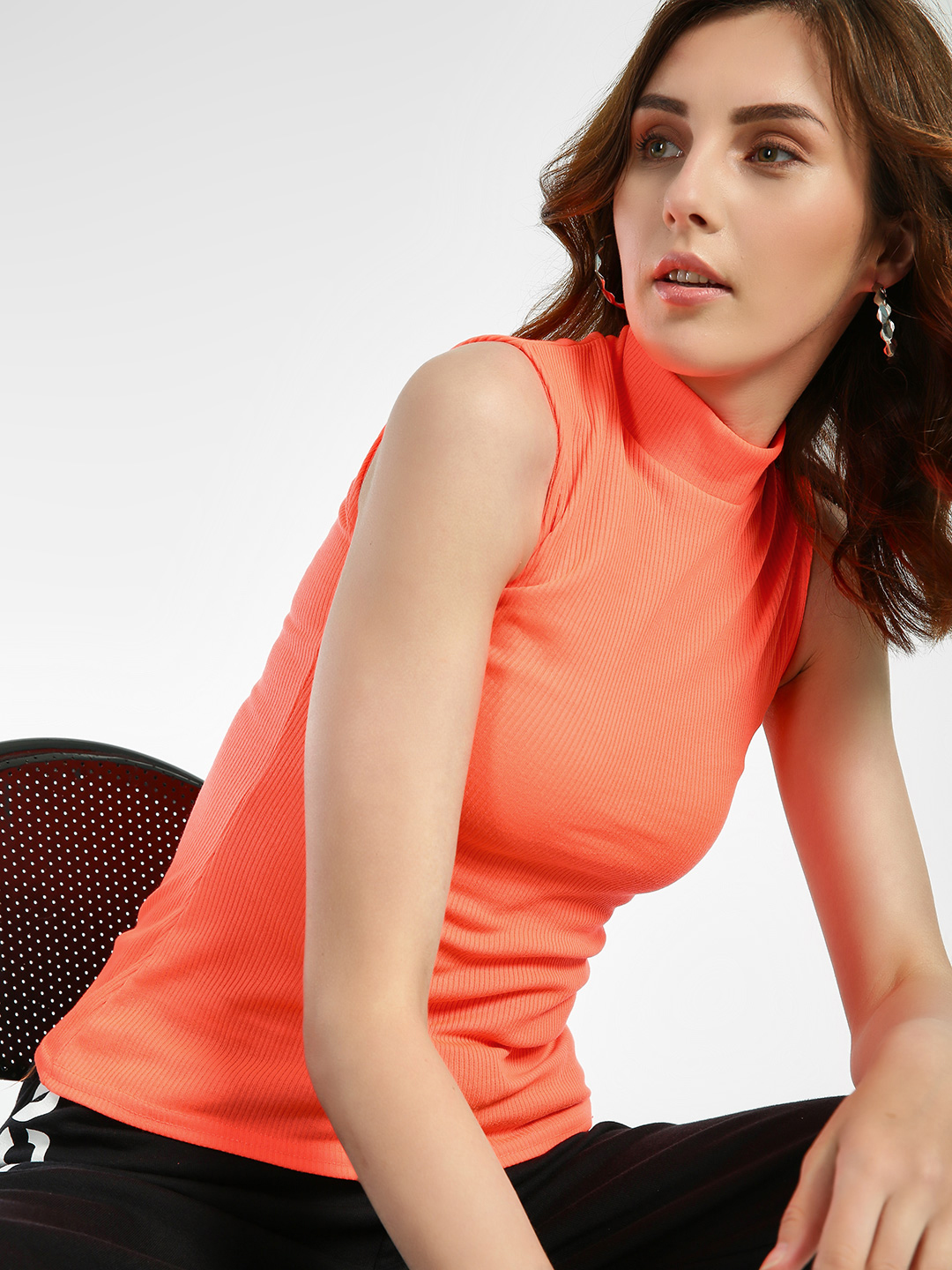 Quiz Orange Ribbed Turtle Neck Sleeveless Blouse 1